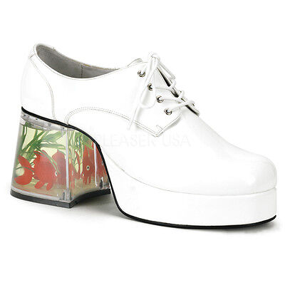 Goldfish Platform Shoes (PIMP02/W Men's White Platform Disco Pimp Mac Daddy Goldfish Heel Costume)
