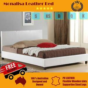Brand NEW PU Leather Bed frames - ALL SIZES - FREE METRO DELIVERY