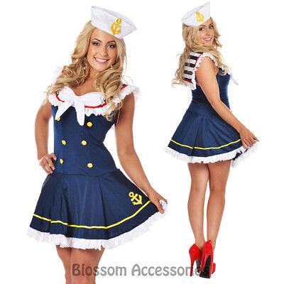 F96 Navy Sailor Girl Uniform Ladies Rockabilly Pin Up Fancy Dress Costume & Hat