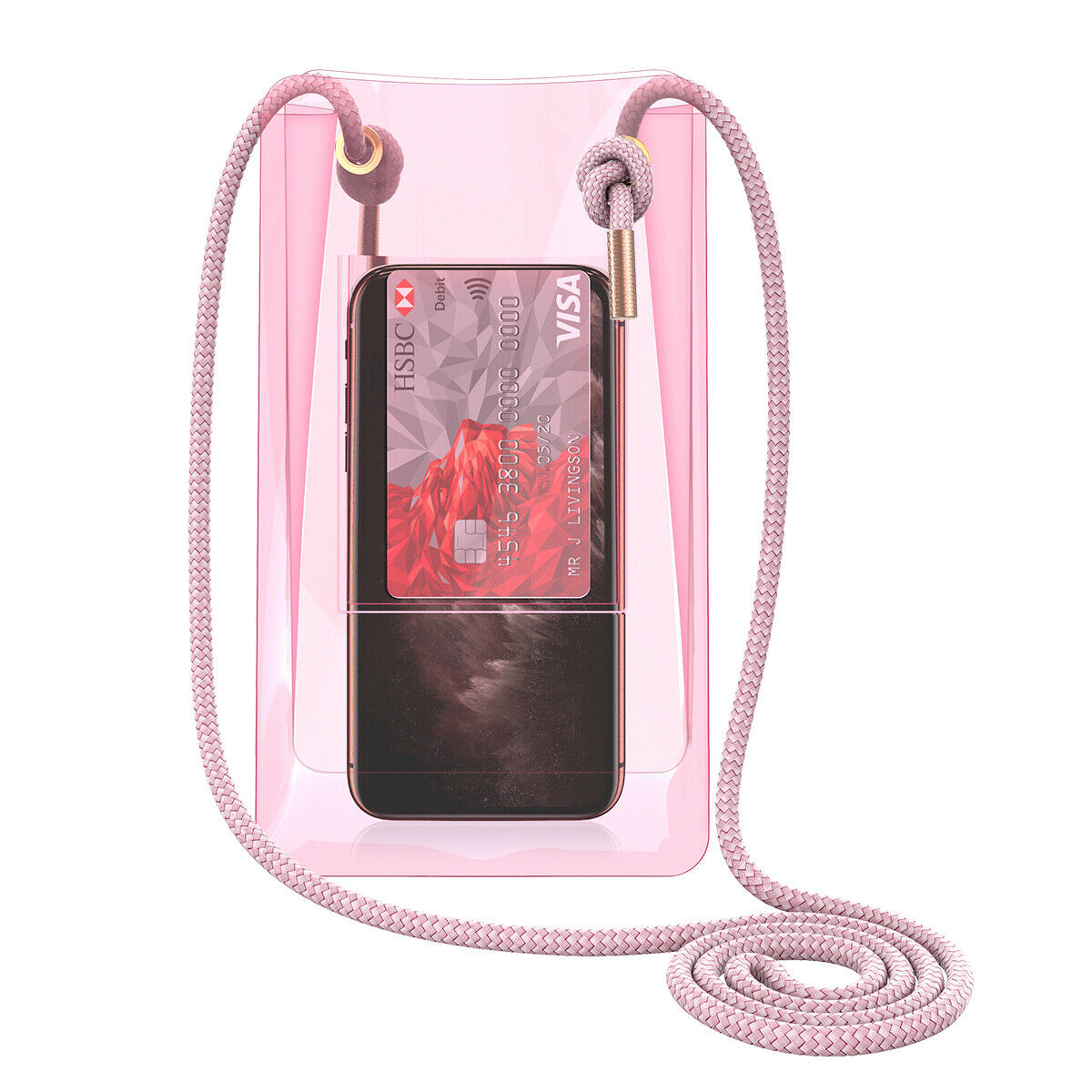 Mini Crossbody Bag with Strap Clear Rose Gold PVC Phone/Make