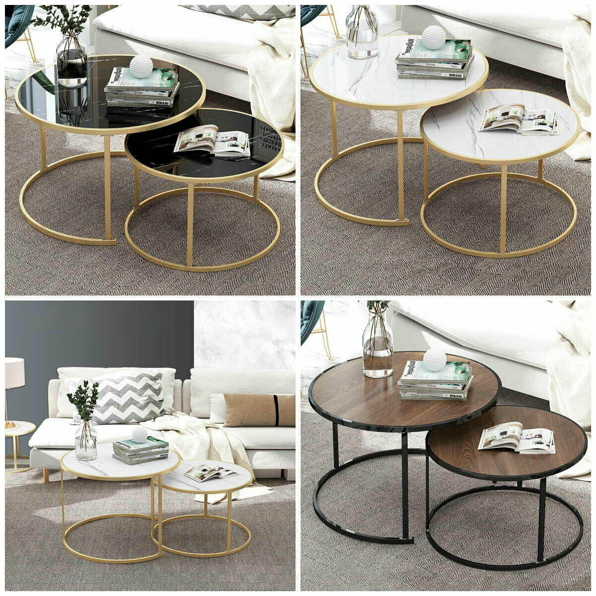 Picture of: Modern End Table Set Of 2 Side Tables Faux Marble Top Living Room Sofa Furniture For Sale Online Ebay