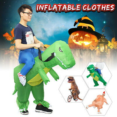 Inflatable Dinosaur Turkey Party Costume Dino Rider Halloween Funny Dress Gift - Dino Rider Costume