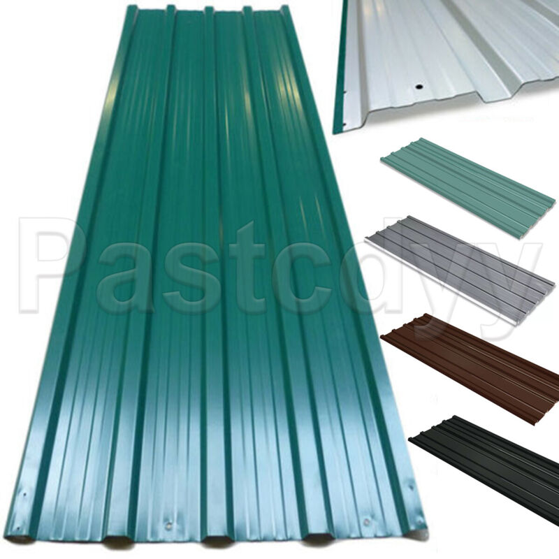 """12x Metal Roof Panels Galvanized Steel Roofing Sheets Shed Garage 50.8"""" x 17.7"""""""