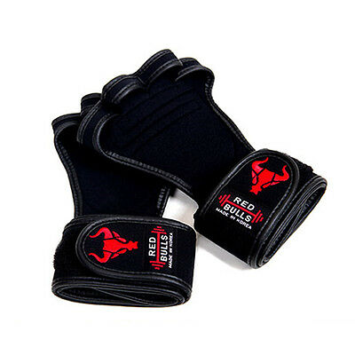 Fitness Gloves Gym Body Building Weight Lifting Workout Wrist Wrap for Men Black