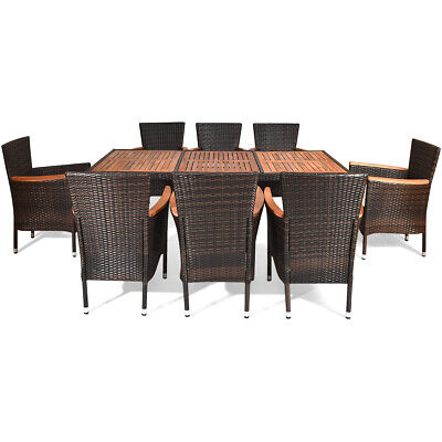 9PCS Patio Rattan Dining Set  8 Chairs Cushioned Acacia Table Top Home Outdoor Rattan Set Chair
