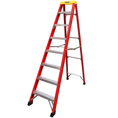 Excel Electrician Fiberglass Step Ladder 8 Tread Heavy Duty Pro Series 2.17M