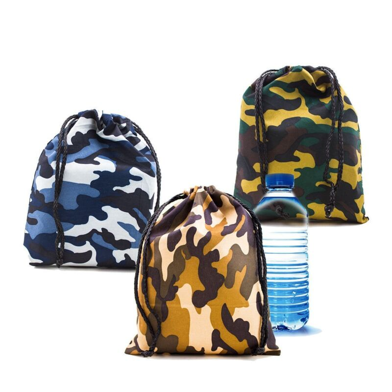 12pk Camo Camouflage Polyester Drawstring Light Bags Loot Sack Party Favors