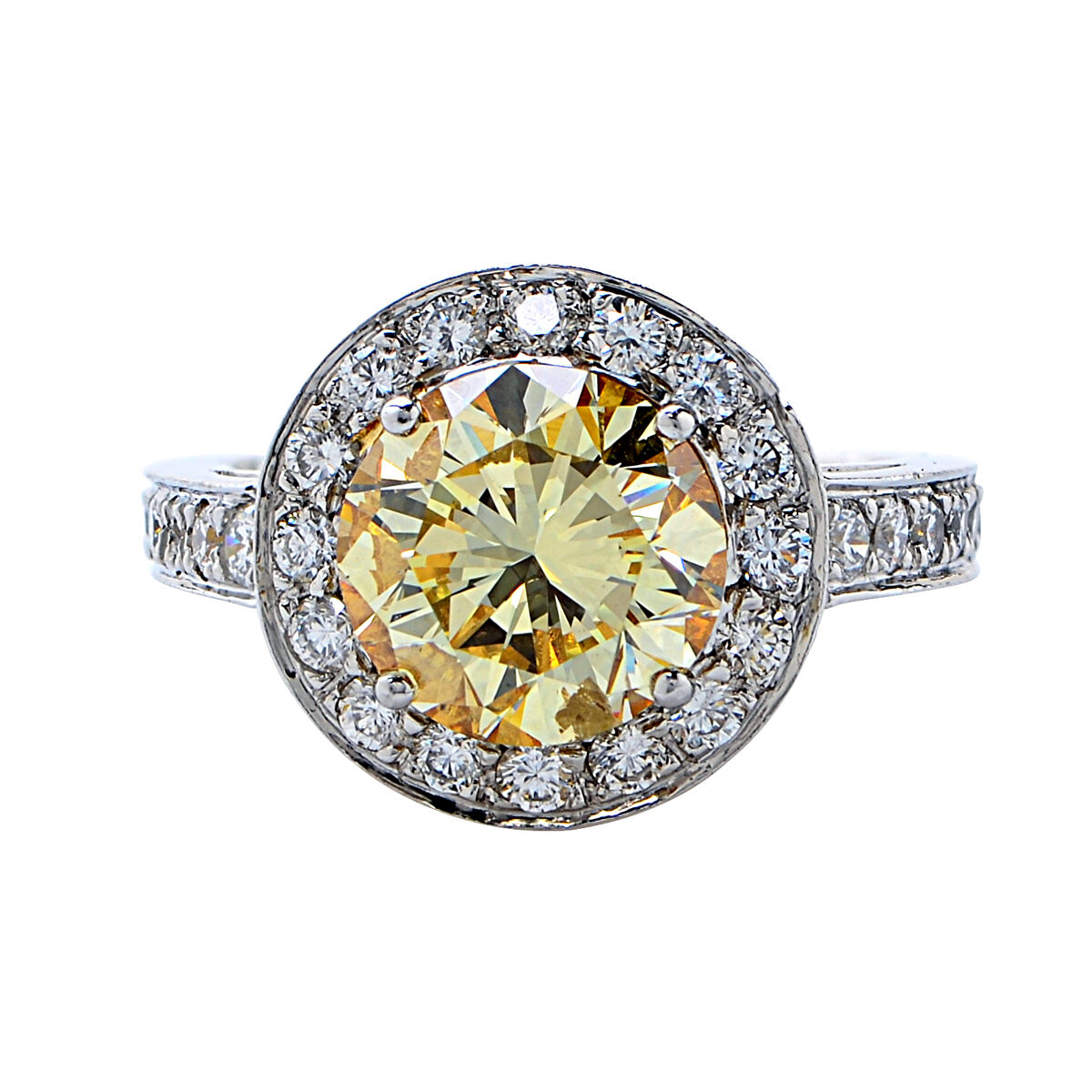3.36ct GIA Graded Natural Fancy Yellow Diamond Engagement Ring