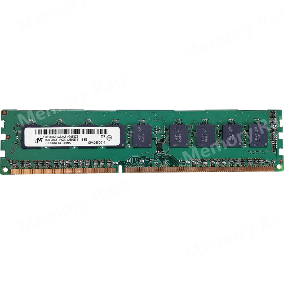 Micron 8GB PC3L-12800E DDR3-1600Mhz 1.35V 240Pin ECC Unbuffered Memory Ram