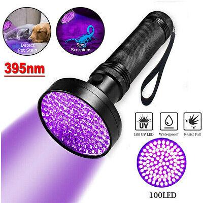 UV Ultra Violet 100 LED Flashlight Blacklight Light Inspection Lamp Torch 395NM