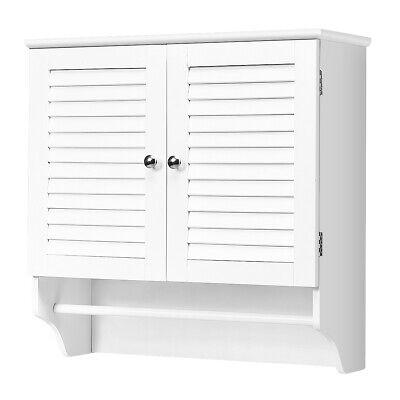 Bathroom Wall Cabinet with Towel Bar & Adjustable Shelf Storage Pine Rack -