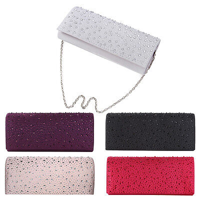 Elegant Satin Flap Crystal Clutch Evening Bag - Diff Colors Avail ()