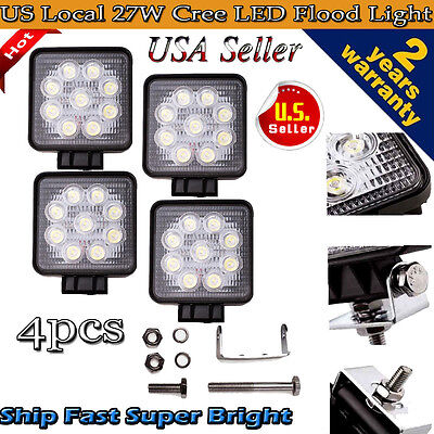 4pcs 27W LED WORK LIGHT BAR LAMP FLOOD TRUCK BOAT OFFROAD 12V SUV ATV LIGHTING