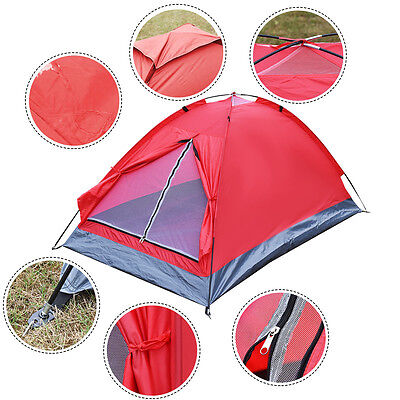 Waterproof 2 Person Camping Tent Travel Outdoor Hiking Double Layer Backpack Red