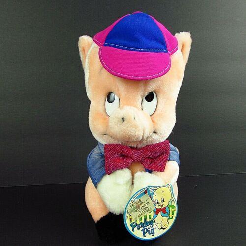 "Warner Bros Porky Pig Vintage 10"" Plush Pink Hat Glittery Tie Blue Jacket 1987"