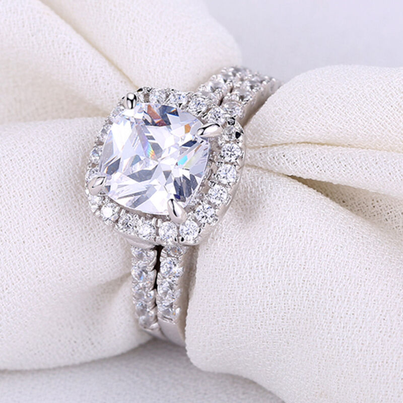 Newshe Wedding Engagement Ring Set Women 2.5ct Halo Cz 925 Sterling Silver 5-10