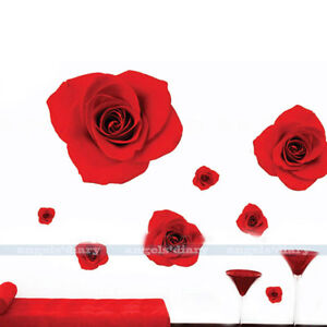 Beauty Red Rose Wall Sticker Decal Home Room Decor Removable Flower Wallpaper Ebay