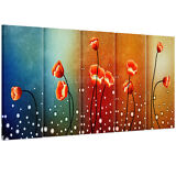 US 5pcs Large Canvas Print Home Decor Wall Art Painting Beautiful Flowers Framed