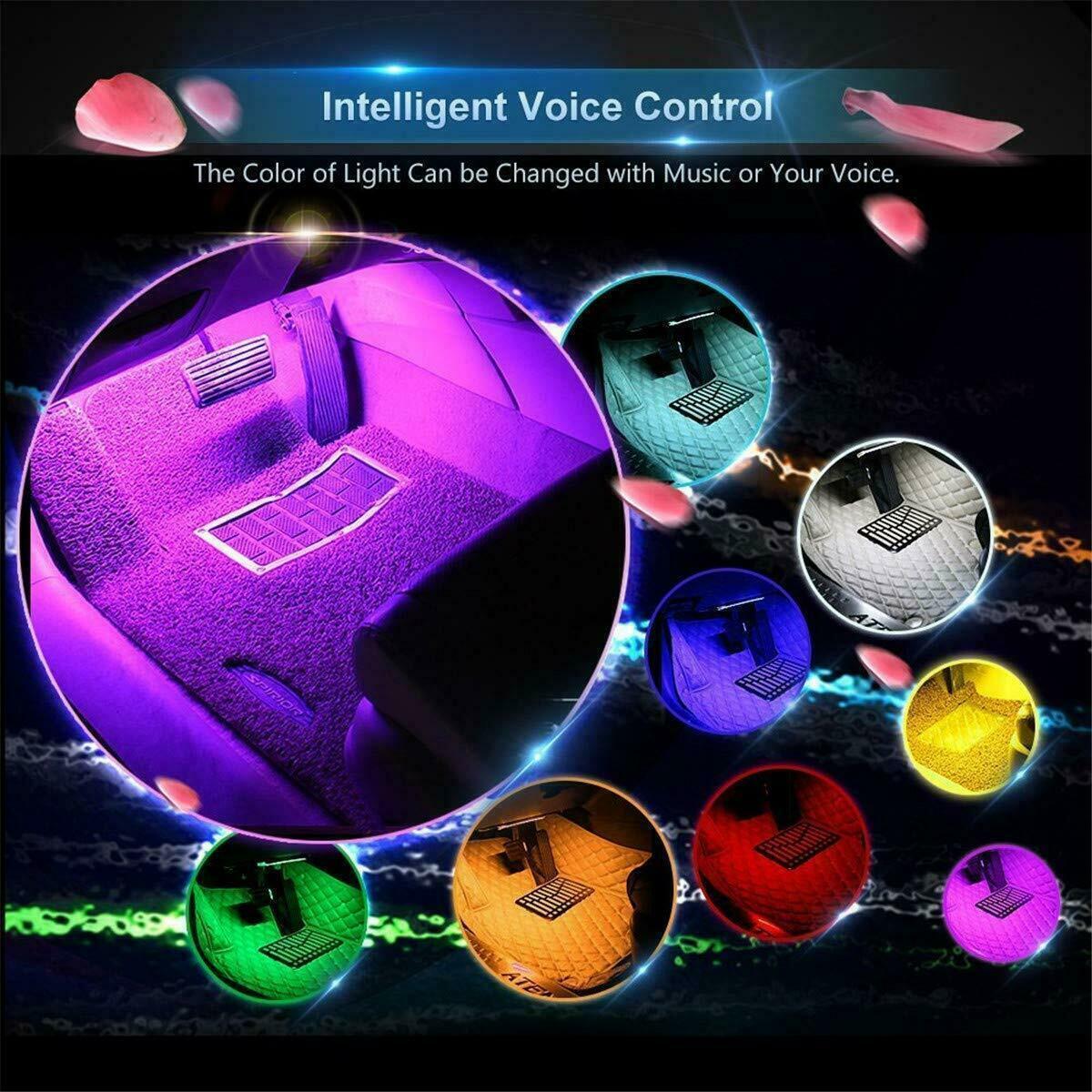 Led Strip 4 Pcs Dc 12v Car Interior Music Light 48 Led Lighting Kit Sound Active Ebay