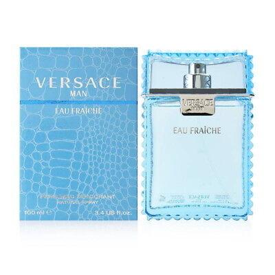 Versace Man Eau Fraiche For Men 3.4 Oz Cologne 3.3 Edt Spray New In Box