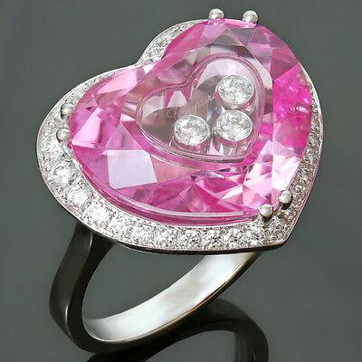 2000s CHOPARD Happy Diamond Pink Quartz 18K White Gold Heart Ring $10000