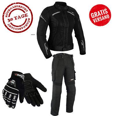 Motorrad Kombi Damen Jacke, Hose und Handschuhen Alle Größe verfügber XS bis 3XL Jacke Und Hose