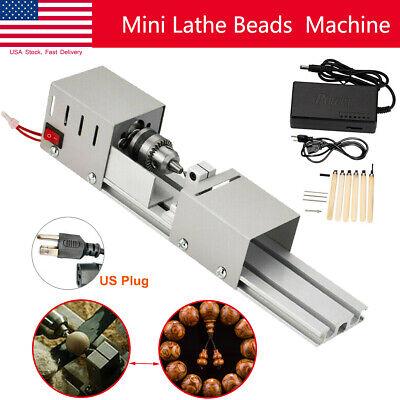 Mini Lathe Beads Polisher Machine Woodworking Diy Craft Rotary Tool 100w 110v