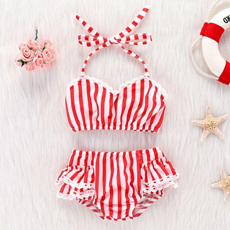 Perfect Baby Toddler Girls Tube Top+Short Bottoms Stripe Bikini Bathing Suit Set