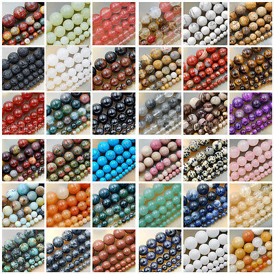"""Natural Gemstone Smooth Round Loose Beads 15""""  4mm 6mm 8mm 10mm 12mm"""