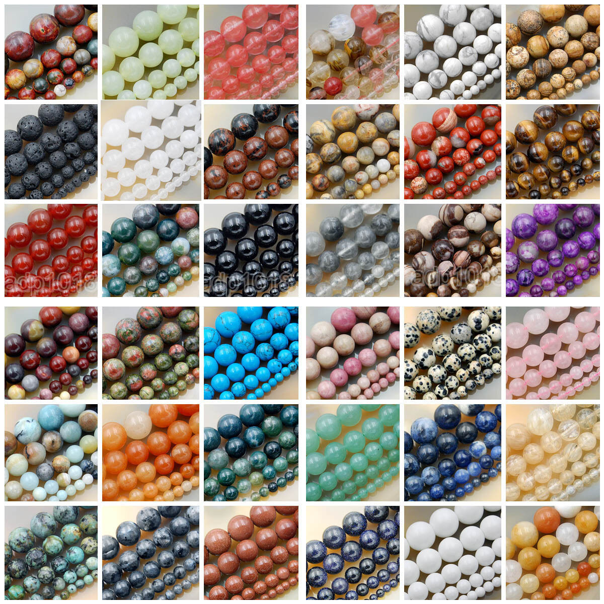 "Beads - Natural Gemstone Smooth Round Loose Beads 15""  4mm 6mm 8mm 10mm 12mm"