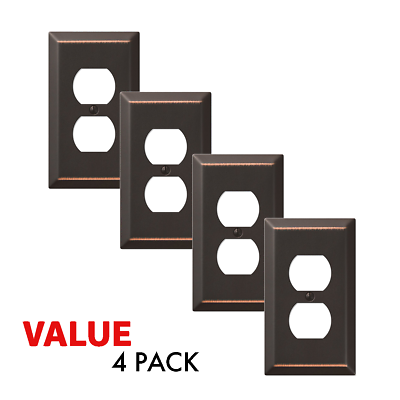 Value 4-Pack Duplex Outlet Wall Plate Decorative Steel, Oil Rubbed Bronze Electrical Outlets, Switches & Accessories