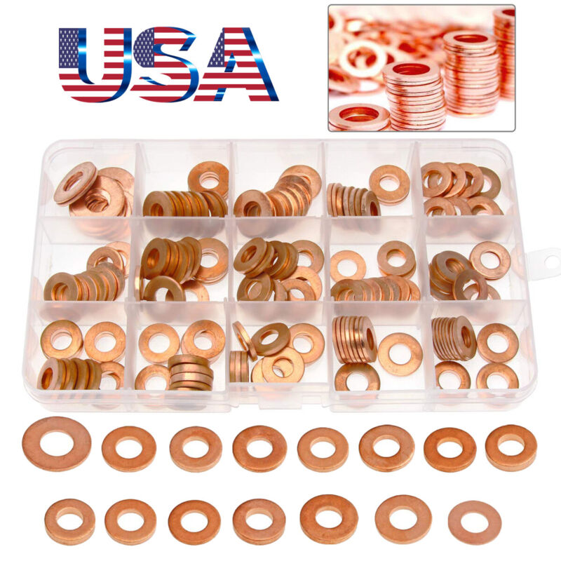 150 Pieces Metric Thick Copper Sealing Washers Flat Washers Assortment Kit