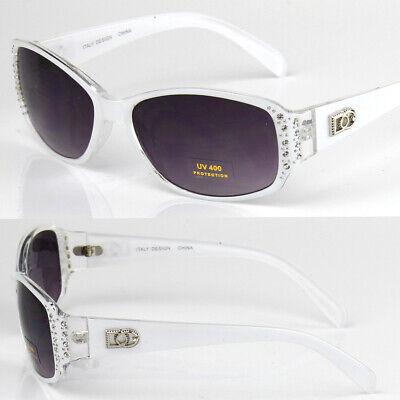 Womens Small Oval Rhinestones Sunglasses Fashion Designer Shades Bling (Small Ladies Sunglasses)