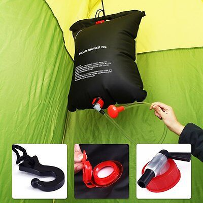 5.28Gal/20L Outdoor Camping Hiking Solar Shower Energy Heated Camp Portable