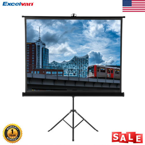"100"" Portable Manual Pull Down Projector Screen Home Theater"