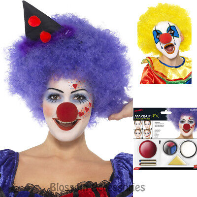 A787 Circus Clown Make Up Halloween Costume Kit Face Paint Sponge Nose Crayons (Painting A Clown Face)