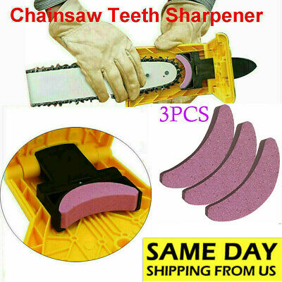 Woodworking Chainsaw Teeth Chain Saw Sharpener Sharpening 3pcs Stone Grinding US