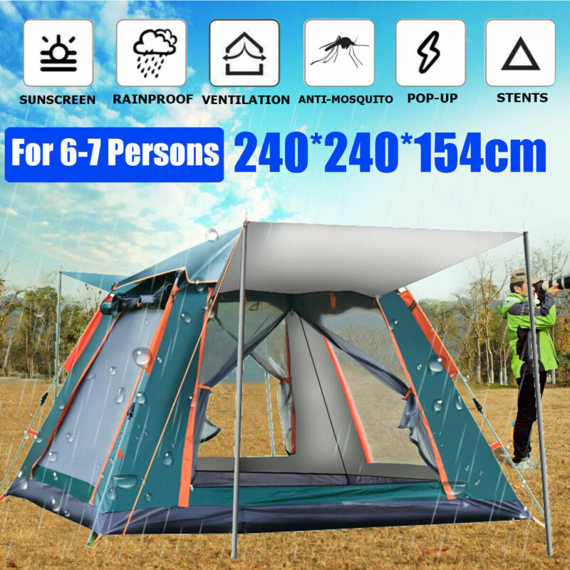 6-7 People Large Waterproof Automatic Outdoor Instant Pop Up Tent Camping Family