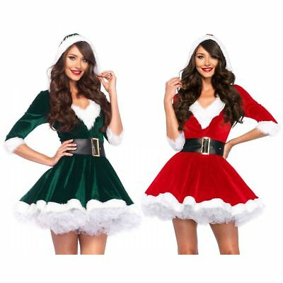 Leg Avenue 2PC.Mrs. Claus,velvet hooded dress and belt Christmas Costume 85356 - Costume Belts