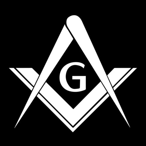 Simple Square & Compass with G Masonic Vinyl Decal - White 6 Inch