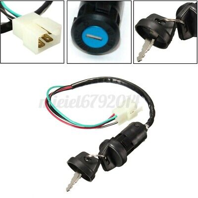 4 Wire Universal Motorcycle Ignition Barrel Key Quad On/Off Switch For Honda