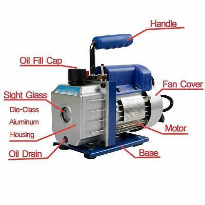 4 Cfm Vacuum Pump Rotary Vane 12hp Hvac Ac Refrigerant Air Conditioning R134a