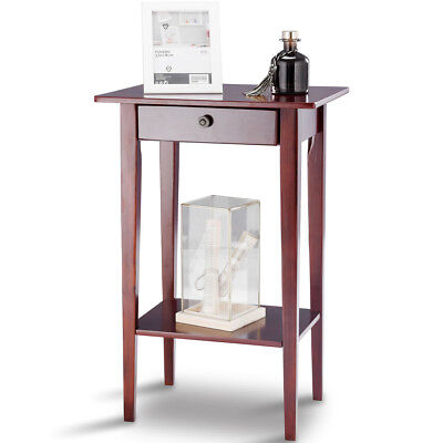 End Table Tall Wood Side Table Accent Style Telephone Stand Table Drawer Shelf