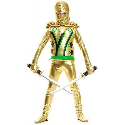 Ninjago Gold Ninja Costume (Gold Ninja Avenger Costume Kids Ninjago Halloween Fancy)
