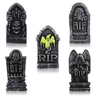 SET OF 5 Tombstones Gravestone Outdoor Halloween Decoration Prop Cemetery Haunt