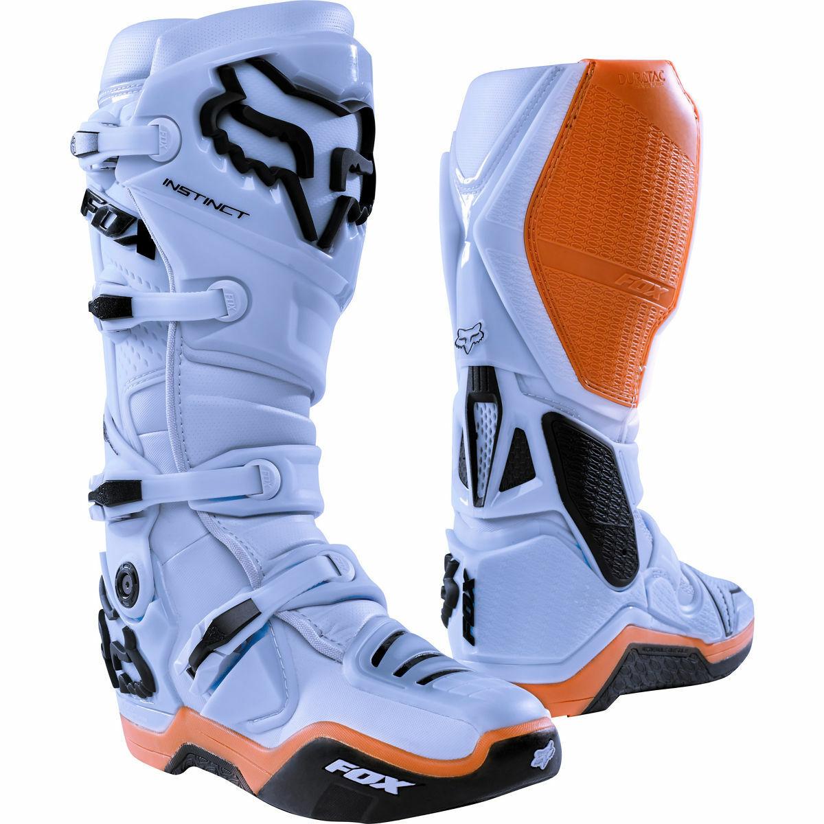 New Fox Racing Instinct Motocross Boots Light Grey Botas Stivali Enduro OUTLET
