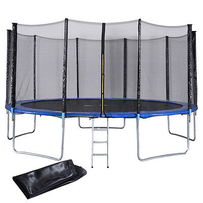 New 15FT Trampoline Combo Bounce Jump Safety Enclosure Net W/Spring Pad Ladder