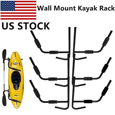 3 Pair Black Kayak Rack Wall Mount Storage Surfboard Canoe System Folding Hanger