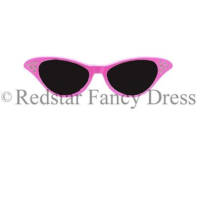 LADIES PINK FANCY DRESS GLASSES SANDY 50'S 1950S ROCK AND ROLL - Sandy Fancy Dress Kostüm