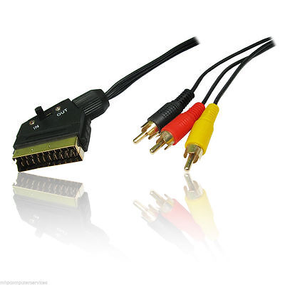 SCART to 3 RCA Phono Lead AV Cable Switch Gold 1.5m TV
